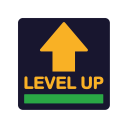 a badge with an arrow pointing up and the word Levelup